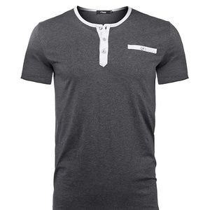 Brand new Mens Henley T-Shirts Casual Button Up Sl
